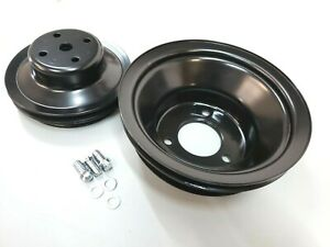 Bbc Big Block Chevy Black Steel Long Water Pump Pulley Kit 396 427 454 1965 86