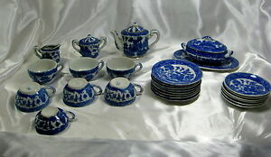 1940 50 S Porcelain Minature Blue Willow 29pc Child S Tea Set Made In Japan