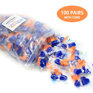 100pcs Pairs Silicone Corded Ear Plugs Hearing Protection Earplugs Nrr28db