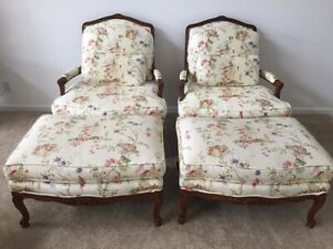 Vintage French Provincial Arm Chairs W Light Flower Print From Pearson Used