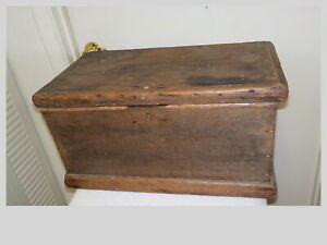 Antique Primitive Handmade Small Wood Chest With Lid