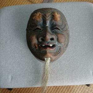 Japanese Antique Minoh Noh Mask Wood Carving Decorative Surface From Japan T8