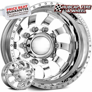 American Force Blade Polished 24x8 25 Dually Wheel 10 Lug Wheel Rim Set 6