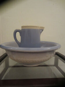 Rare Very Old Salt Glazed Pitcher And Bowl Blue And White