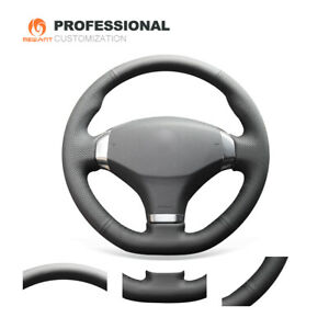 Mewant New Black Genuine Leather Car Steering Wheel Cover For Peugeot 408 2013