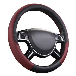 Car Pass Rhombus Leather Universal Steering Wheel Cover Black And Wine Red