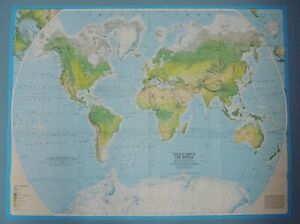 Physical Map Of The World 1988 For Mountain Worlds Book National Geographic