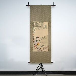 Long Chinese Scroll Painting Lady Figures Painting Marks Huangshanshou