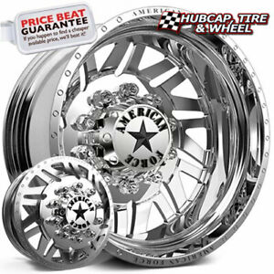 American Force Siege H02 Polished 24x8 25 Dually Wheel 10 Lug Rim Set 6