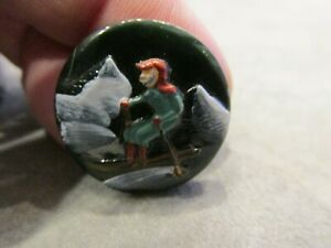 Antique Painted Black Glass Skier Skiing Sport Ski Winter Sewing Button