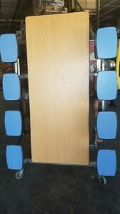 Refurbished 12 Cafeteria Folding Table Oak Top W 16 Bl Stool Bench Elementary