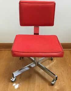 Vintage Red Mid Century Modern Industrial Chrome Office Chair All Steel Inc