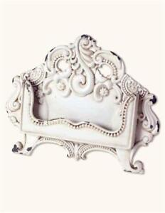 Shabby Chic Baroque Antique White Metal Business Card Holder Desk Top Display