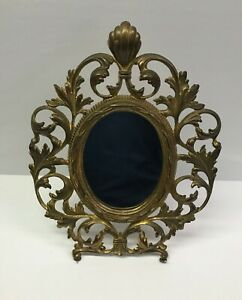 Antique Vintage Brass Ornate French Victorian Table Mirror 11 5 X 8 5 Numbered