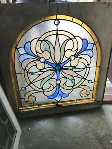 Sg2957 Arch Top Jeweled Stained Glass Landing Window 28 25 X 30 25