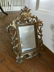 Antique Vintage Brass Ornate French Victorian Table Mirror 9 X 12 Numbered
