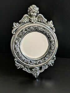 Vintage Heavy Well Cared For Cherub Powder Room Vanity Table Wall Mirror 13 H