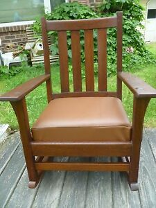 Antique Gustav Stickley Mission Oak Arts Crafts Rocker Rocking Chair Label