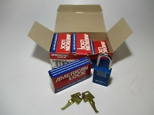 American Lock a1106kabluz2 1 1 2 Aluminum Blue Padlock Keyed Alike Lot Of 6