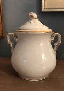 Old Paris Porcelain Covered Sugar Bowl From France Antique Circa 1850 S