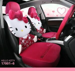 Red Cartoon Hello Kitty Car Seat Cover Plush Cushion Accessories Universal Style