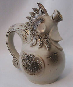 Vtg Retro Mid Century Rooster Pottery Decorative Chicken Pitcher W Germany