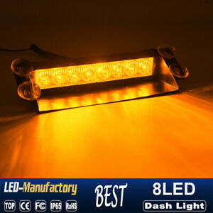 8 Led Amber Car Truck Dash Strobe Flash Light Emergency Warning 3 Modes Lamp 12v