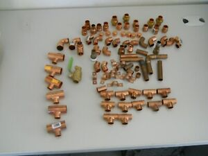 Lot Of 84 Pcs Copper Plumbing Fittings Tees 90 reducer coupling union etc