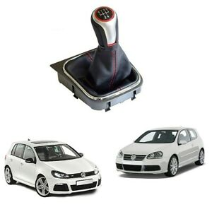5 Speed Gear Shift Knob Lever With Boot Cover Gaiter For Vw Golf Mk5 Mk6 Octavia