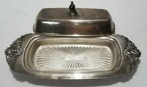 Baroque Wallace Silver Plate Vintage Butter Dish Glass Liner Tarnished 206
