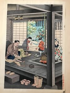 Antique Japanese Original Woodblock Print Happy Family Meiji Period With Seal