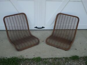 2 Vintage Wire Rat Rod Seats Lawn Chair Patio Outside Rusty Metal Tube Jalopy