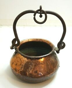 Antique Primitive Hammered Copper And Hand Wrought Cast Iron Pot Caldron