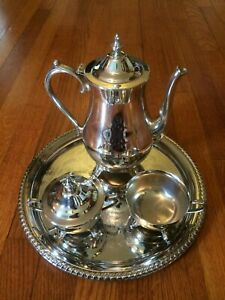 Vintage International Silver Co Silverplate 4 Pc Footed Coffee Set 700 3 0071