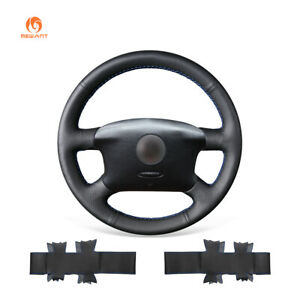 Black Pu Leather Car Steering Wheel Cover For Vw Golf 4 Jetta Passat Eurovan