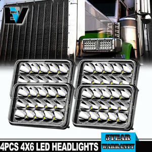 4x Dot Approved 4x6 160w Led Headlights Drl For Peterbilt Kenworth Freightliner