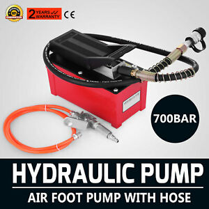 Air Hydraulic Foot Pump W Air Line Hose Coupler Vehicle Pulling Benches Hose