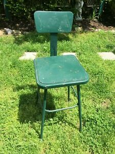 Vintage Industrial Green Metal Stool W Back 14 Square Seat Very Good