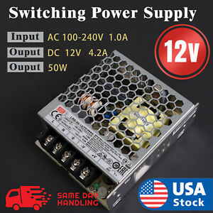 Mean Well Enclosed Switching 12volt 4 2 Amp Ac dc Power Supply 12v 4 2a 50w
