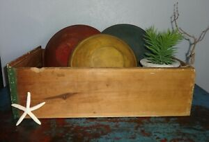 3 Antique Dough Wooden Painted Bowls Old Kitchen Cabinet Drawer
