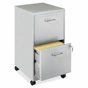 2 Drawer Filing Cabinet With Lock Grey Metal Letter Size Rolling Office Storage