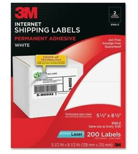 3m 3100z Internet Shipping Labels Jam Free Smudge Free 200 Labels White
