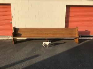 12 Ft Solid Oak Church Pew Bench For Front Porch Hallway Entryway Very Long