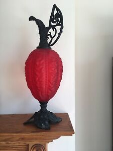 Large Antique Victorian Red Puffy Glass Ornate Metal Mantle Ewer Decorative Art