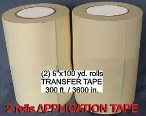 2 Rolls 6 Application Transfer Paper Tape 300 Ft For Vinyl Cutter Plotter New