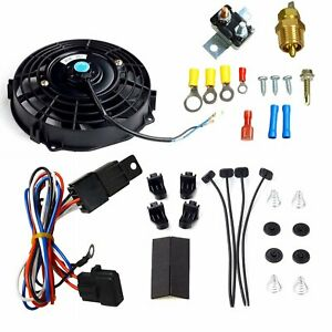 10 Inch Black Universal Electric Radiator Cooling Fan Thermostat Switch Kit
