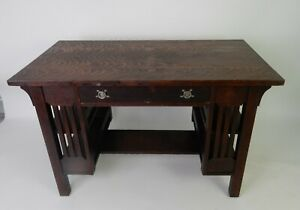 Stickley Era Mission Desk With Side Shelves By Bear Guaranteed Mfg 48