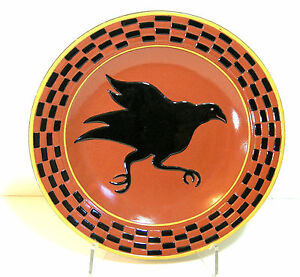 Redware Platter With Black Crow And Checkerboard Design Country Primitive