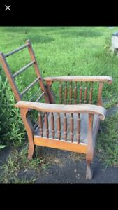 Antique Morris Manual Recliner Chair Carved W Spindles Claw Feet