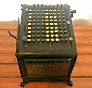 Antique Burroughs Adding Machine No 3 42421 With Beveled Glass 81 Keys Vintage